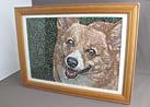 愛犬を刺繍絵画に